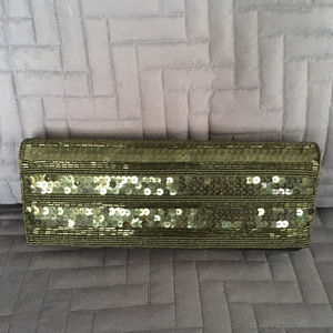 Sequined Evening Clutch/Shoulder Bag - Black